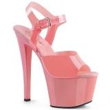 Różowe 18 cm SKY-308N JELLY-LIKE stretch wysokie obcasy na platformie