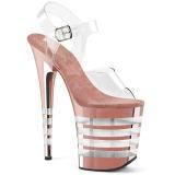 Różowe 20 cm FLAMINGO-808CHLN sandały na obcasie i platformie chrom