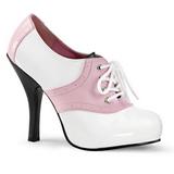 Różowe Biały 11,5 cm SADDLE-48 Oxford buty damskie na wysokim obcasie