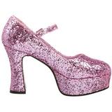 Różowe Glitter 11 cm MARYJANE-50G Platformie Szpilki Mary Jane