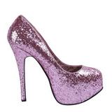 Różowe Glitter 14,5 cm Burlesque BORDELLO TEEZE-06G Szpilki na wysokim obcasie