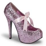 Różowe Glitter 14,5 cm Burlesque TEEZE-10G Platformie Szpilki Buty