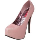 Różowe Glitter 14,5 cm Burlesque TEEZE-31G Platformie Szpilki Buty