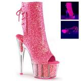 Różowe Glitter 18 cm ADORE-1018G botki z platformy wysokim obcasie