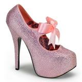 Różowe Kamieniami 14,5 cm Burlesque TEEZE-04R platformy szpilki damskie