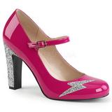 Różowe Lakierowane 10 cm QUEEN-02 duże rozmiary szpilki buty