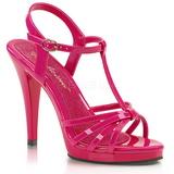 Różowe Lakierowane 12 cm FLAIR-420 Sandały damskie na obcasie