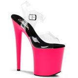 Różowe Neon 20 cm Pleaser FLAMINGO-808UV Wysokie obcasy platformie