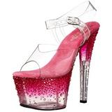 Różowe Przeźroczysty 18 cm STARDUST-708-2 buty damskie na wysokim obcasie