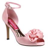 Różowe Satyna 9,5 cm ROSA-02 Sandały damskie na obcasie