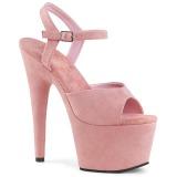 Różowe Skóra Ekologiczna 18 cm ADORE-709FS sandały na obcasie