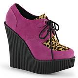 Różowe Skóra Ekologiczna CREEPER-304 platformy creepersy buty kliny