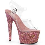Różowe brokatem 18 cm Pleaser ADORE-708LG buty do tańca pole dance