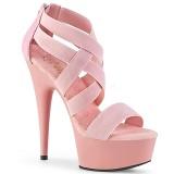 Różowe elastyczna opaska 15 cm DELIGHT-669 obuwie pleaser dla damskie