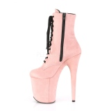 Różowe faux suede 20 cm FLAMINGO-1020FS botki do tańca pole dance