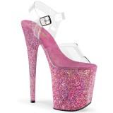 Różowe glitter 20 cm FLAMINGO-808CF buty do tańca pole dance