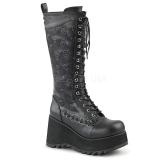 Skóra Ekologiczna 9 cm SCENE-107 Czarne buty z koronki punk