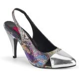 Srebrne 10 cm DREAM-405 slingback buty na transwestyta