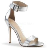 Srebrne 13 cm AMUSE-10 buty na transwestyta