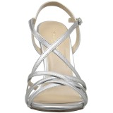 Srebrne 13 cm Pleaser AMUSE-13 sandały na obcasie
