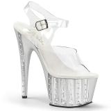Srebrne 18 cm ADORE-708VLRS platformy buty na wysokiej z kryształkami