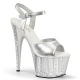 Srebrne 18 cm ADORE-709VLRS platformy buty na wysokiej z kryształkami