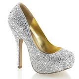 Srebrne Błyszczące Kamieńie 13,5 cm FELICITY-20 buty damskie na obcasie