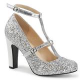 Srebrne Glitter 10 cm QUEEN-01 duże rozmiary szpilki buty