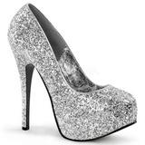 Srebrne Glitter 14,5 cm Burlesque BORDELLO TEEZE-06G Szpilki na wysokim obcasie