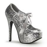 Srebrne Glitter 14,5 cm Burlesque TEEZE-10G Platformie Szpilki Buty