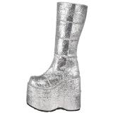 Srebrne Glitter 18 cm STACK-301G demonia kozaki - unisex kozaki cyberpunk