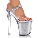 Srebrne Glitter 20 cm XTREME-808G High Heels Platformie Buty