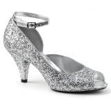 Srebrne Glitter 7,5 cm BELLE-381G buty czółenka peep toe na obcasie