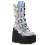 Srebrne Hologram 14 cm SWING-230 cyberpunk kozaki na platformy