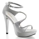 Srebrne Kamieńiami 13 cm COCKTAIL-526 Platformie buty high heels