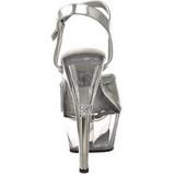 Srebrne Przeźroczysty 15 cm Pleaser KISS-209 Wysokie obcasy platformie