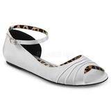 Srebrne Satyna ANNA-03 duże rozmiary baleriny buty