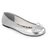 Srebrne Skóra Ekologiczna ANNA-01 duże rozmiary baleriny buty