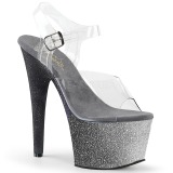 Srebrne glitter 18 cm Pleaser ADORE-708OMBRE buty do tańca pole dance