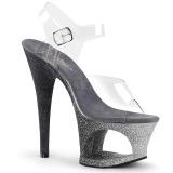 Srebrne glitter 18 cm Pleaser MOON-708OMBRE buty do tańca pole dance