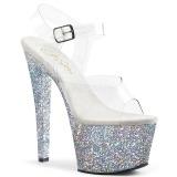 Srebrne glitter 18 cm Pleaser SKY-308LG buty do tańca pole dance
