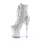 Srebrne glitter 20 cm Pleaser FLAMINGO-1020G botki do tańca pole dance