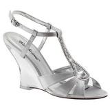 Srebrny 10,5 cm LOVELY-420 Sandały na koturnie i obcasie