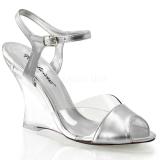 Srebrny 10,5 cm LOVELY-442 Sandały na koturnie i obcasie