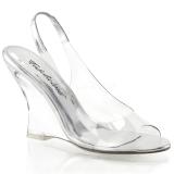 Srebrny 10,5 cm LOVELY-450 Sandały na koturnie i obcasie
