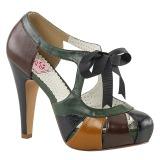 Wielobarwny 11,5 cm retro vintage BETTIE-19 buty damskie na wysokim obcasie