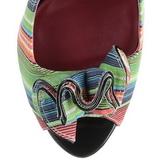 Wielobarwny 13 cm LOLITA-12 buty czółenka peep toe na obcasie