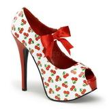 Wiśnia Wzór Biały 14,5 cm TEEZE-25-3 buty damskie na wysokim obcasie