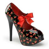 Wiśnia Wzór Czarne 14,5 cm Burlesque TEEZE-25-3 buty damskie na wysokim obcasie