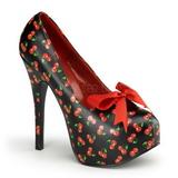 Wiśnia Wzór Czarne 14,5 cm TEEZE-12-6 buty damskie na wysokim obcasie